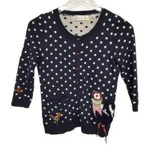 Anthro Blue Polka Dot Cardigan Bird Applique XS